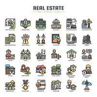 Icone di colore di linea sottile immobiliare