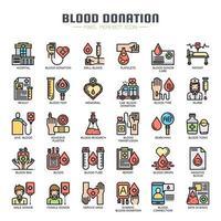 Icone di sottile linea di donazione di sangue