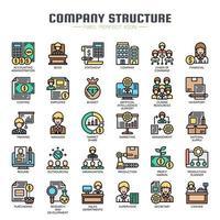 Struttura aziendale Icone di linea sottile vettore