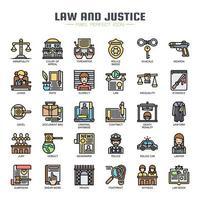 Icone di sottile linea di legge e giustizia