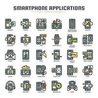 Applicazione smartphone Icone di linea sottile