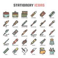 Icone di elementi sottili di elementi di cancelleria