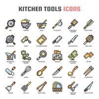 Icone di linea sottile di utensili da cucina