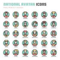 Icone di linea sottile avatar nazionale vettore