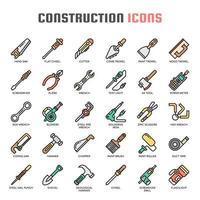 Icone di sottile linea di strumenti di costruzione