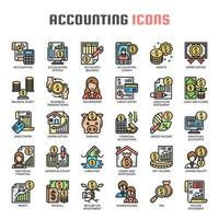 Icone di sottile linea di contabilità vettore