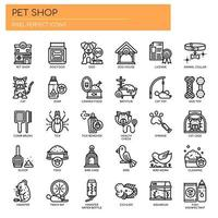 Icone di linea sottile negozio di animali