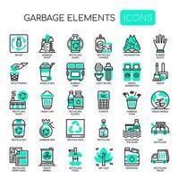 Icone monocromatiche di elementi sottili di immondizia