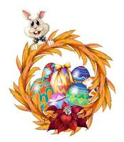 Un bordo di design di Pasqua con coniglietto, ghirlanda e uova colorate