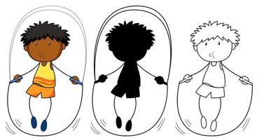Un set di corda per saltare ragazzo a colori, silhouette e contorno vettore