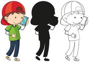 Un set di ragazzo sul telefono a colori, silhouette e contorno