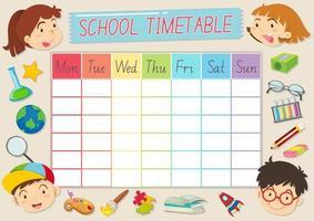 Modello di orario scolastico con alunni e materiale scolastico
