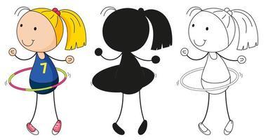 Un set di ragazza con hula-hoop a colori, silhouette e contorno