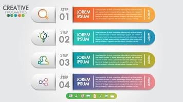 Infographics modello 4 passaggi o opzioni con icone vettoriali e di marketing.