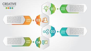 Infografica con design moderno per affari con 4 passaggi o opzioni vettore