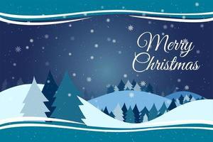 Paesaggio di stagione invernale con l'albero di Natale e fiocchi di neve che cadono