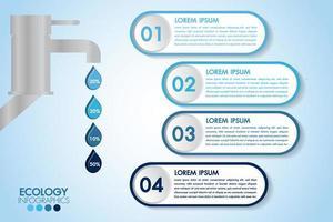 Infografica eco design blu acqua con 4 gradini e rubinetto vettore