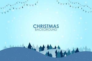 Paesaggio piatto stagione invernale con albero di Natale e fiocchi di neve che cadono vettore