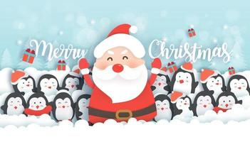 Celebrazioni di Natale con Babbo Natale e simpatici pinguini nella foresta di neve. vettore