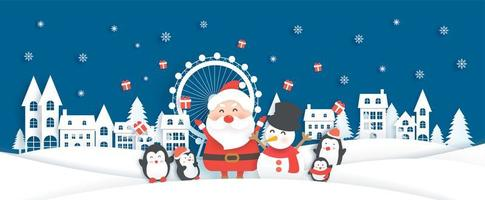 Banner di Natale con Babbo Natale e simpatici animali nel villaggio di neve