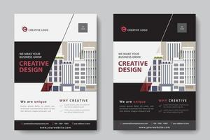 Modello di affari corporativi del ritaglio ad angolo nero, rosso e bianco vettore