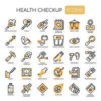 Icone monocromatiche di sottile linea di controllo sanitario