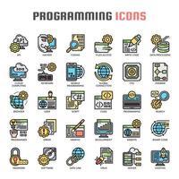 Programmazione di icone a linea sottile vettore