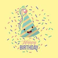 carta di buon compleanno con cappello da festa kawaii e coriandoli vettore