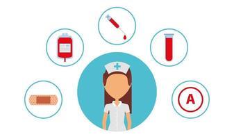 professionista sanitario con icone mediche