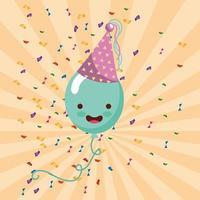 carta di buon compleanno con palloncino kawaii in cappello da festa