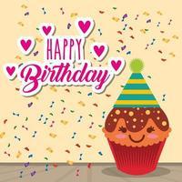 carta di buon compleanno con cupcake kawaii e coriandoli