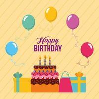 carta di buon compleanno con torta, regali e palloncini