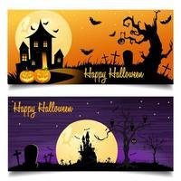 Sfondo di carta felice Halloween con castello e pipistrelli