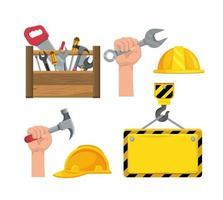 impostare lo strumento scatola da costruzione e la mano con il martello vettore