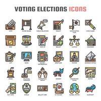 Elezioni elettorali, linea sottile e icone pixel perfette