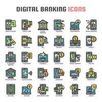 Icone di linea sottile di attività bancarie digitali vettore