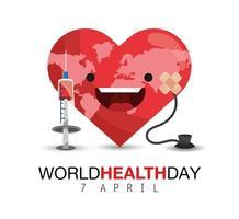 cuore felice con la siringa per la giornata mondiale della salute vettore