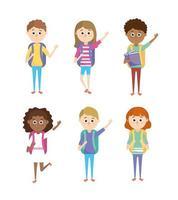 impostare studenti di ragazze e ragazzi con utensili scolastici