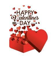 regalo presente con decorazione a cuori per San Valentino vettore