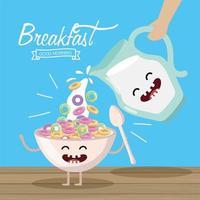 felice cereali con cucchiaio e barattolo di latte vettore