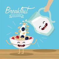 felice cereali con frutta e vasetto di latte vettore