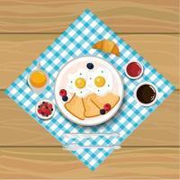 deliziose uova fritte con fetta di pane vettore
