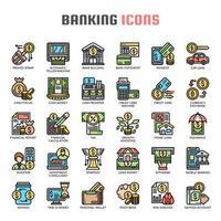Icone di linea sottile di attività bancarie