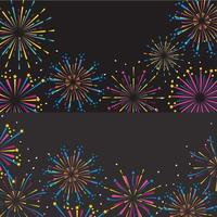 impostare la decorazione di fuochi d'artificio per celebrare l'evento vettore