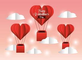 cuori mongolfiere a San Valentino vettore