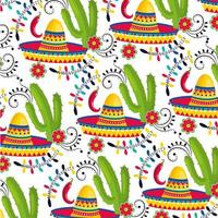 cappello messicano con piante di cactus e peperoncino sfondo vettore
