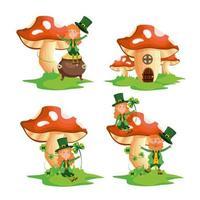 impostare la donna e l'uomo di San Patrizio con la casa dei funghi