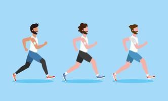 impostare uomini che svolgono attività fisica