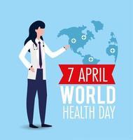 donna con stetoscopio per la giornata mondiale della salute vettore