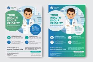 Modello di business aziendale blu e verde con medico in forma di cerchio